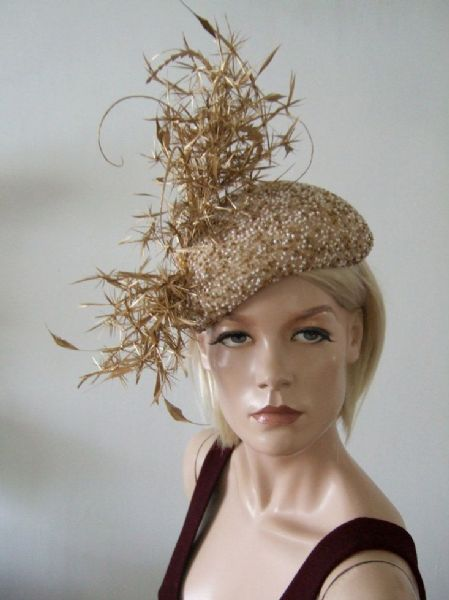 "Gold White Silk Beaded and Feathered Beret Headpiece Cocktail Ascot Hat ""Dulcinea"""